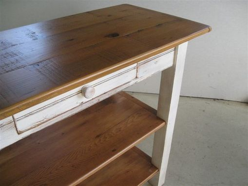 Custom Made Barnwood Kitchen Island With 2 Shelves