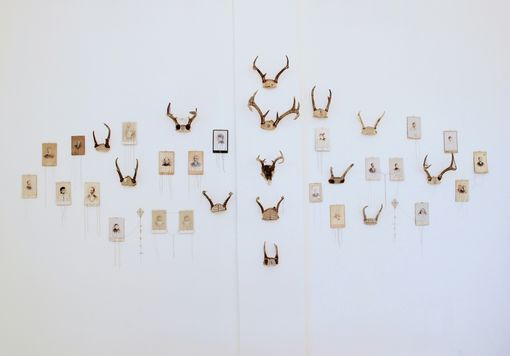 Custom Made Art Installation Embroidered Antler And Photograph - Memory Wall