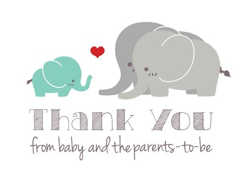 Custom Made Gender Neutral Elephant Baby Shower Thank-You Cards