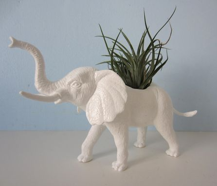 Custom Made Upcycled Toy Planter - White Elephant With Air Plant