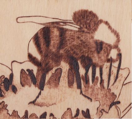 Custom Made Flower With Bee Pyrography