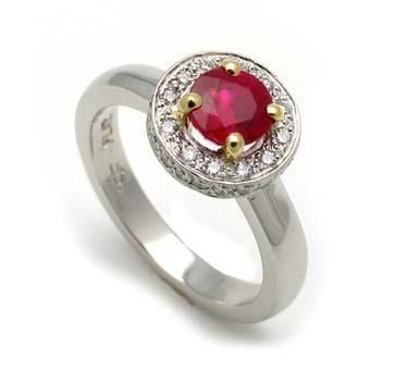 Custom Made White Gold Ring With Ruby And Yellow Gold Accents