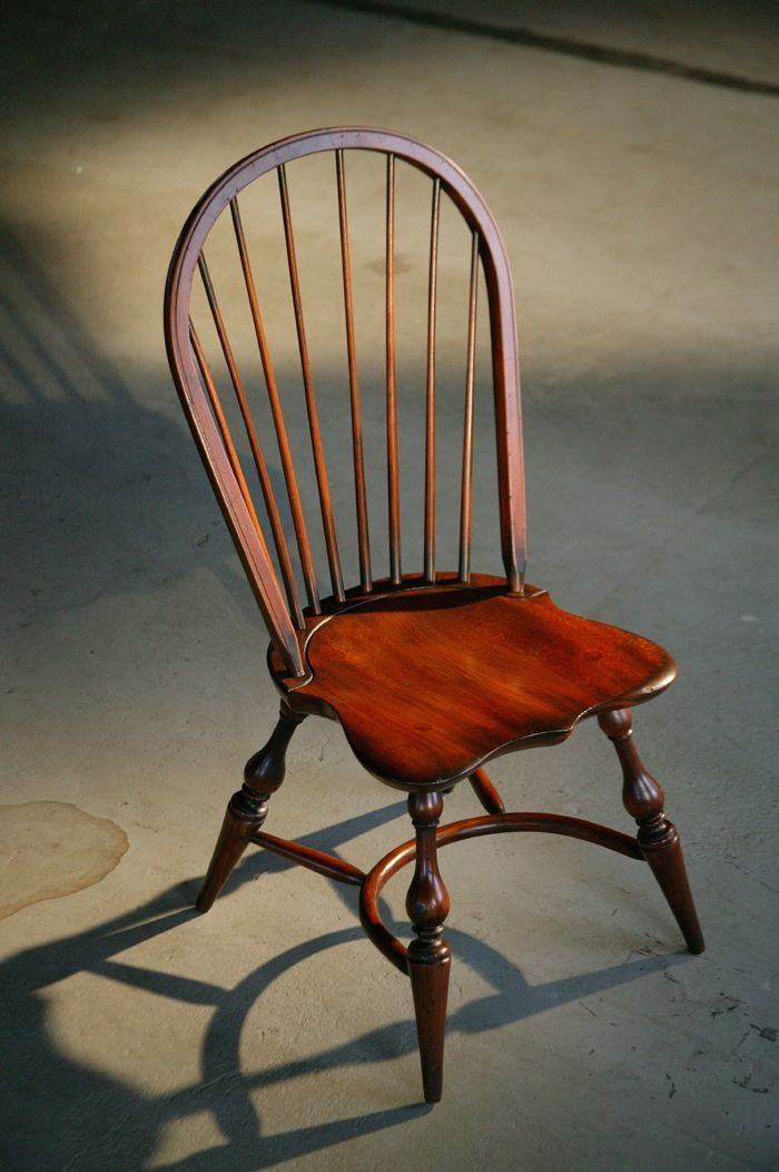 Hand Made English Windsor Chair In Brown Cherry Finish By