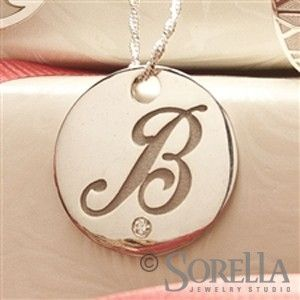 Custom Made Round Script Initial Pendant In 14k Gold With Diamond