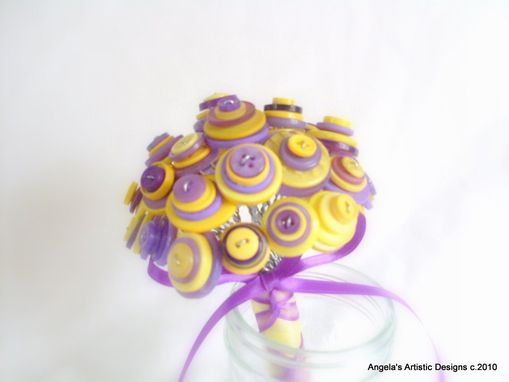Custom Made Purple And Yellow Buttons Bouquet
