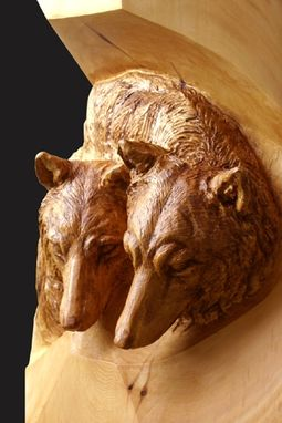 "Custom Made Deep Relief Carving "" Wolves"""