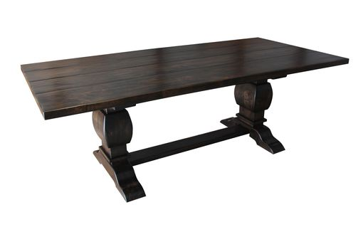 Custom Made Knotty Alder Trestle Table Espresso Finish