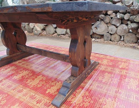 Custom Made Farmhouse Harp Base Trestle Table