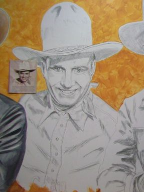 Custom Made Acrylic On Board Portrait For A Mural: Cowboys 9