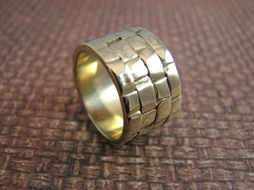Custom Made Woven Textured 14kt Gold Wide Band