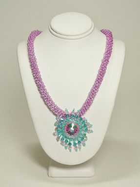 Custom Made Lavender And Aqua Kumihimo Necklace W/18mm Rivoli Pendant