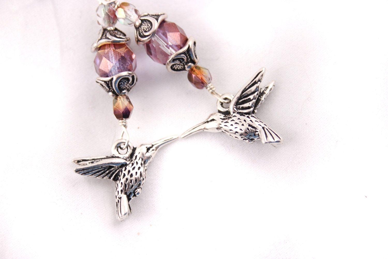 Custom Made Hummingbird Earrings Czech Gl Purple Pink Silver
