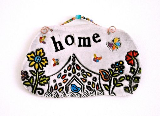 Custom Made Home Ceramic Pottery Wall Hanging - Handmade Rustic Eco Stamped Welcome Plaque