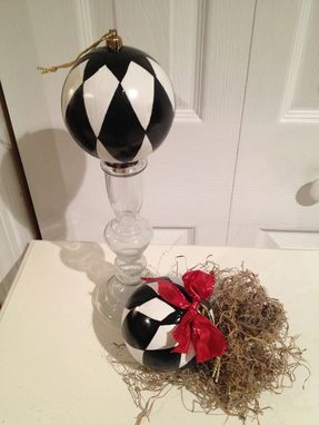 Custom Made Hand Painted Black And White Harlequin Ornament - 4inch