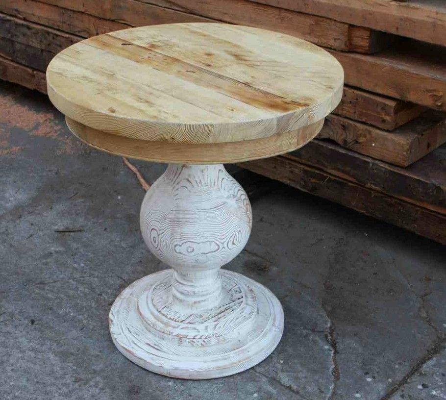 Custom Made Round End Table Built In Reclaimed Lumber