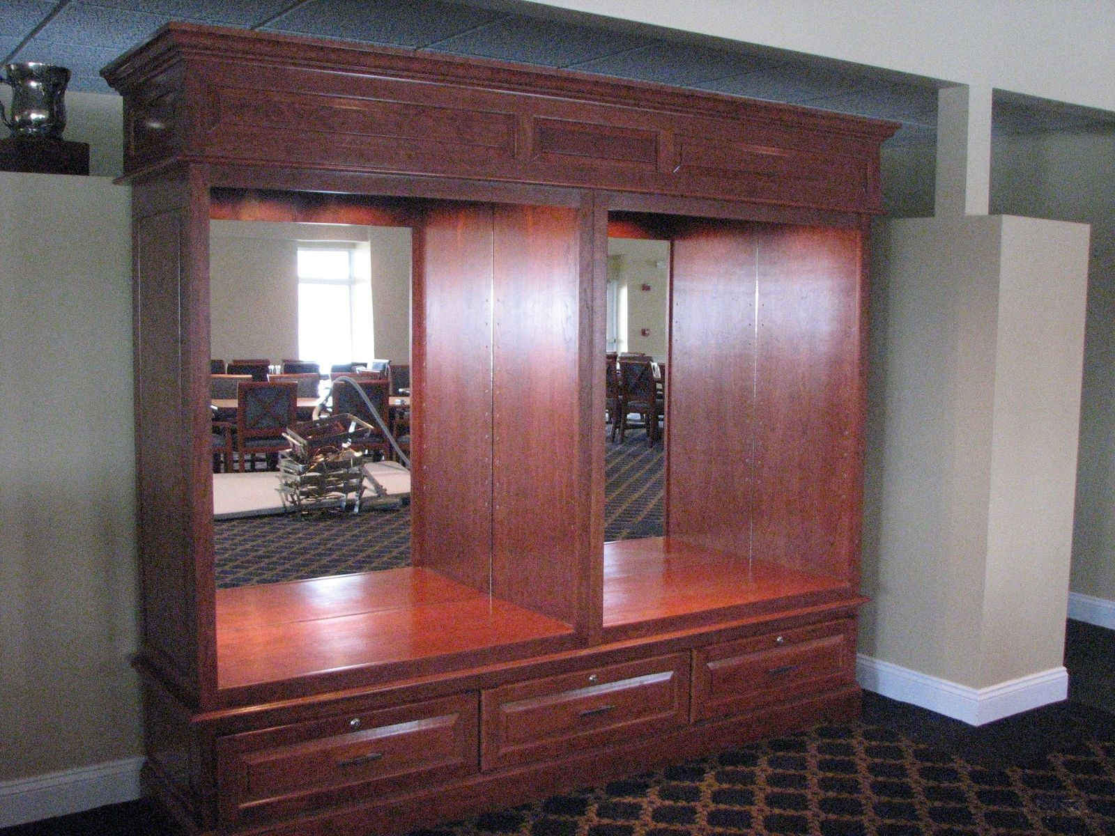 Hand Made Finishing Project Cherry Wood Trophy Case By