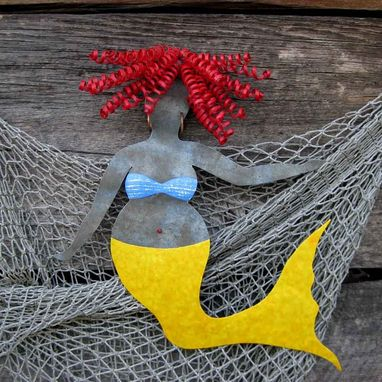 Custom Made Handmade Upcycled Metal Curvy Mermaid Wall Art Sculpture