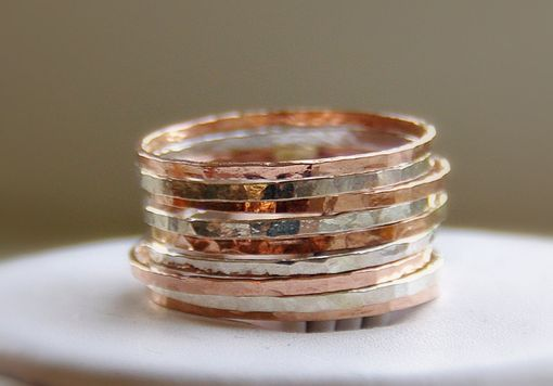 Custom Made Stackable Rings Silver And Rose Gold