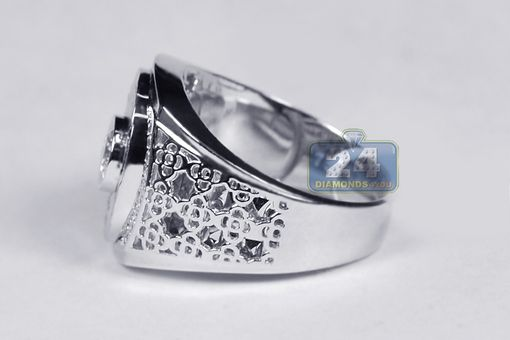 Custom Made 18k White Gold 0.70 Ct Bezel Set Diamond Mens Ring