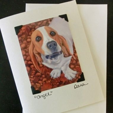 Custom Made Basset Hound Card - Dog Art Postcard Greeting Card Combination - Basset Art