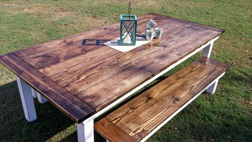 Custom Made Colonial Style Table With Matching Benches