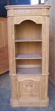 Custom Made Solid Mahogany Presidential Resolute Office Bookcase W/ Glass Door