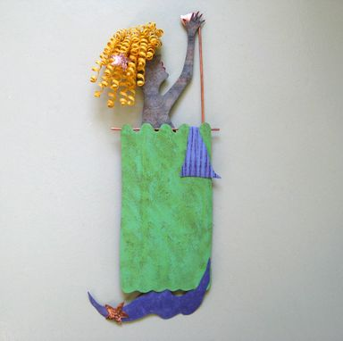 Custom Made Mermaid In The Shower Ocean Art Sculpture Recycled Metal Wall Home Decor Marine Green Purple