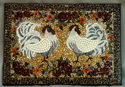 Custom Made White Rooster Mosaic