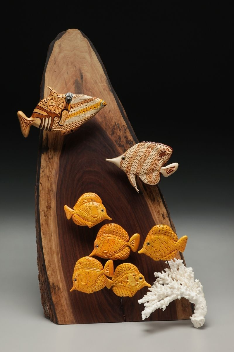 Hand crafted salt water fish for tabletop bookcase or centerpiece