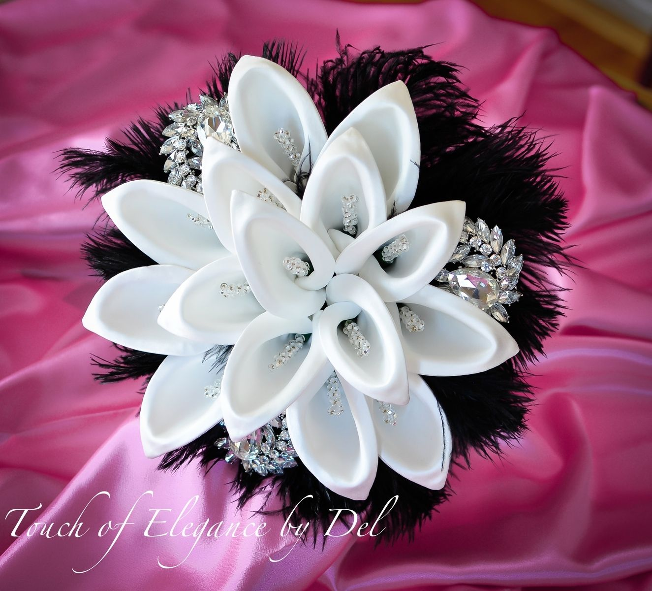 Custom 10 Diamonds In The Sky Bridal Brooch Bouquet With Calla