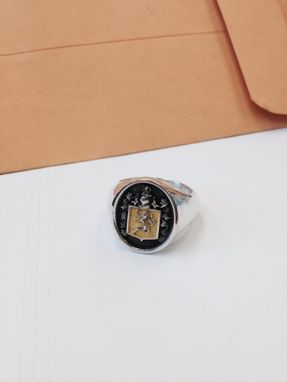 Custom Made Family Crest Ring Sterling And 14k Yellow Gold