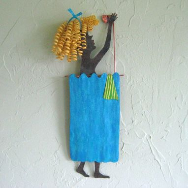 Custom Made Handmade Upcycled Metal Lady In The Shower Wall Art Sculpture