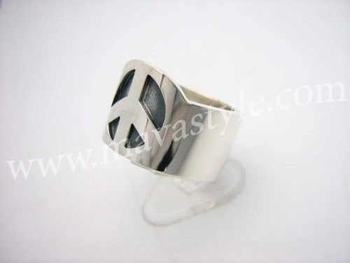 Custom Made Sterling Silver Peace Symbol Sign Ring