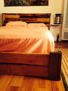 Custom Made Reclaimed Rustic Bed Frame With Floating Nightstands