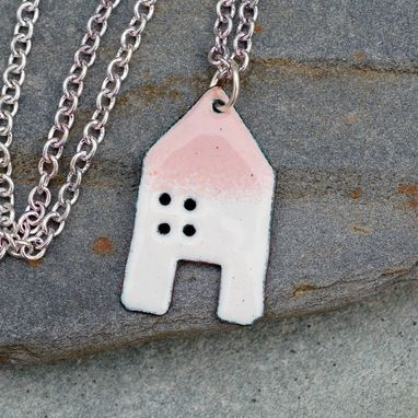 Custom Made Enamel House Pendant Copper Home Necklace Enameled Jewelry - White And Peachy Pink
