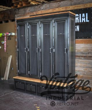 Custom Made Vintage Industrial Locker/Bookcase/Mudroom Entryway Bench