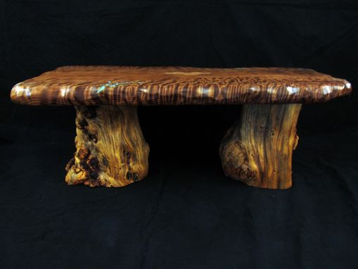 Custom Made Curly Redwood Garden Bench With Turquoise Inlay