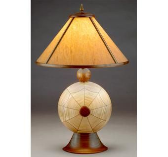 Custom Made Chelonia # 2 Table Lamp W/ Translucent Wood Shade