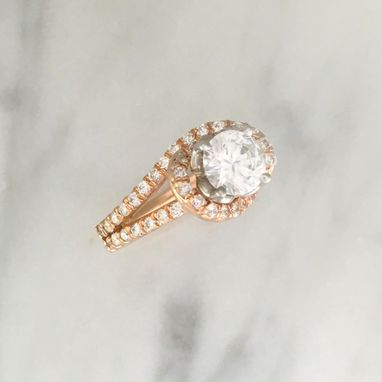 Custom Made Setting Only - Two Tone - Rose & White Gold Engagement Ring