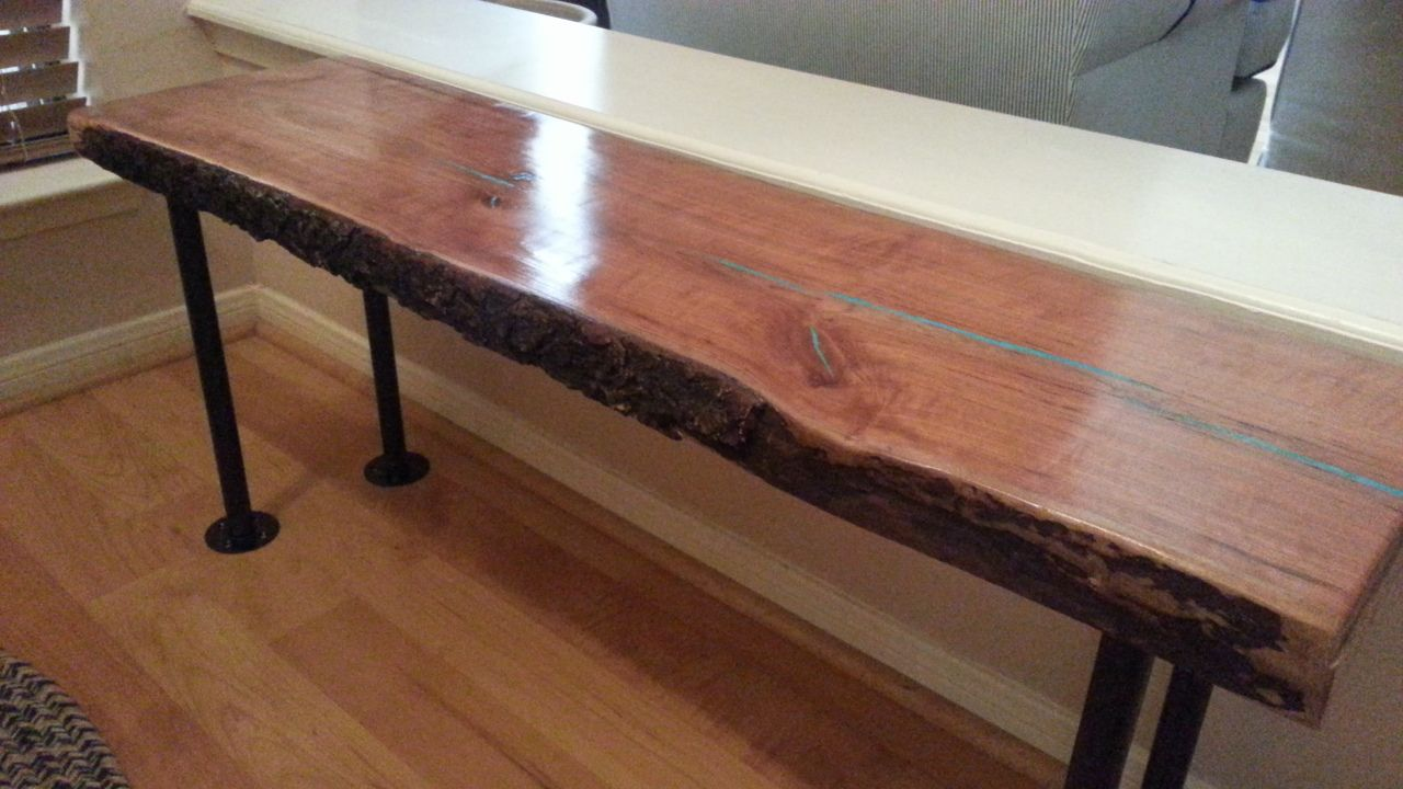 Hand crafted live edge cherry wood slab coffee bench table for Wood slab coffee table