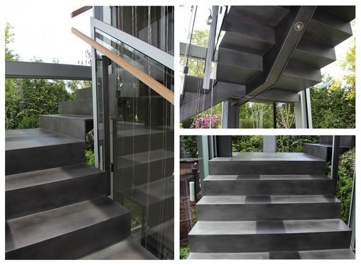 Custom Made Blackened Stainless Steel Staircase