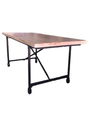 Custom Made Industrial Rustic Wormy Maple Dining Table