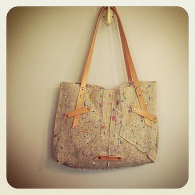 Custom Made Hand Painted European Organic Linen Tote // Vegetable Tanned Leather // Beeswax // Nickel Hardware
