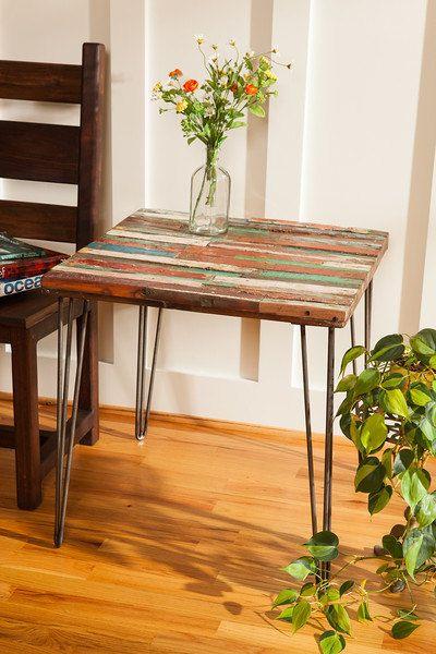 Custom Made Reclaimed Bali Boat Wood End Table Teak Coffee Colorful