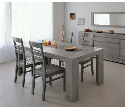 Custom Made Grey Solid Oak Dining Table
