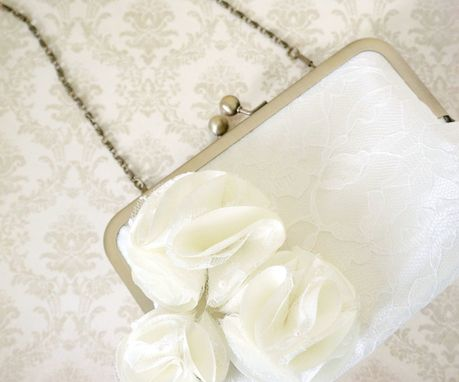 Custom Made Victorian-Inspired Bridal Clutch Purse With Pom Pom Flowers