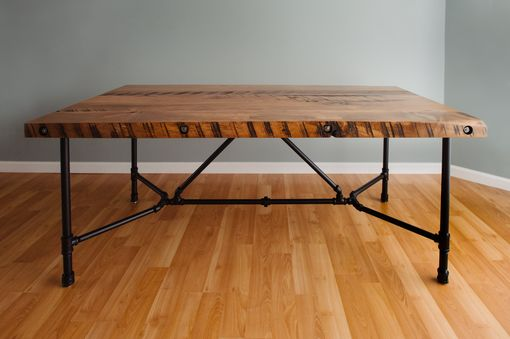 Custom Made Pipe Leg Dining Table With Reclaimed Wood Top