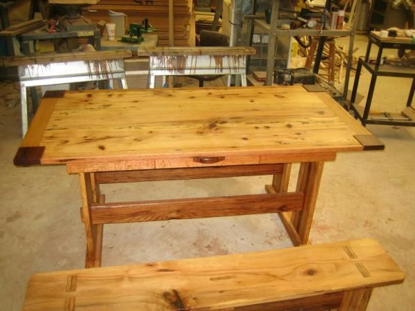custom made hickory and oak mission style dining table - Mission Style Dining Table