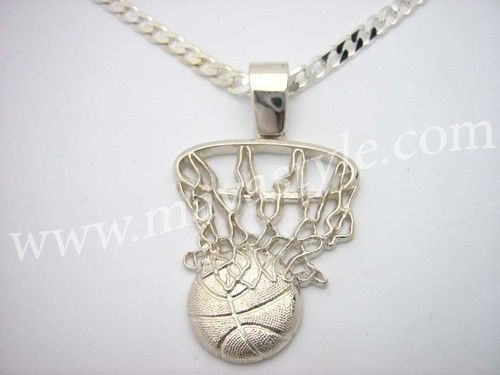 Hand made sterling silver nba basketball net medallion pendant by sterling silver nba basketball net medallion pendant mozeypictures Images