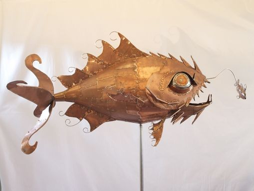 Custom Made Whirligig Outdoor Copper Sculpture - Storm Force Fish